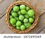 Green Tomato  Unripe  In Wicker ...