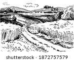 green grass field on small... | Shutterstock .eps vector #1872757579