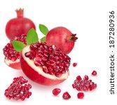 ripe pomegranate on white... | Shutterstock . vector #187280936