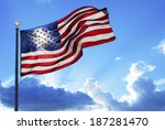 American flag fluttering in the ...