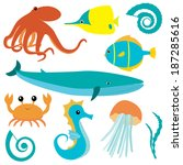 collection of sea animals... | Shutterstock .eps vector #187285616