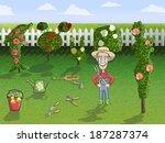 Stock vector happy gardener cartoon character in hat with tree pruner working in rose garden concept poster 187287374