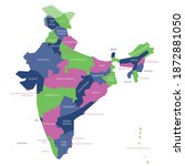 colorful political map of india....   Shutterstock .eps vector #1872881050