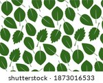 set of green various leaves.... | Shutterstock .eps vector #1873016533