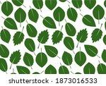 set of green various leaves.... | Shutterstock .eps vector #1873016533