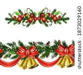 christmas holly brunches...   Shutterstock .eps vector #1873029160