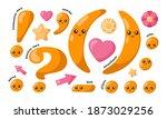 Set Of Cute Smiling Orange...