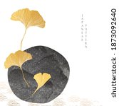 ginkgo object with gold texture ... | Shutterstock .eps vector #1873092640