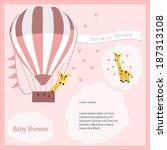 baby shower card  for baby girl ... | Shutterstock .eps vector #187313108