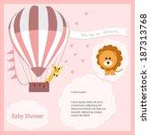 baby shower card  for baby girl ... | Shutterstock .eps vector #187313768