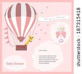 baby shower card  for baby girl ... | Shutterstock .eps vector #187315418