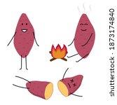sweet potato character  baked... | Shutterstock .eps vector #1873174840