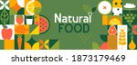 natural food banner in flat... | Shutterstock .eps vector #1873179469
