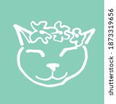 cat face doodle illustration....