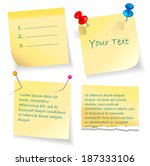 yellow paper notes and stickers. | Shutterstock .eps vector #187333106