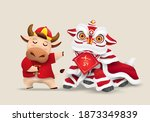 happy chinese new year 2021 ox... | Shutterstock .eps vector #1873349839