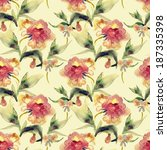 peonies seamless pattern | Shutterstock . vector #187335398