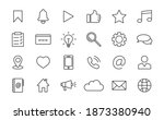 set of media web icons in thin...