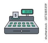 cash register color flat...