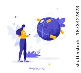woman holding smartphone  globe ... | Shutterstock .eps vector #1873422823