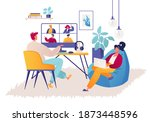 couple of young people work... | Shutterstock .eps vector #1873448596