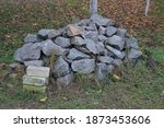 A Large Pile Of Gray Stones On...