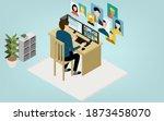 isometric  teleworking people... | Shutterstock .eps vector #1873458070