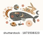celestial poster with cachalot  ... | Shutterstock .eps vector #1873508323