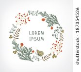 hand drawn floral wreath | Shutterstock .eps vector #187354526