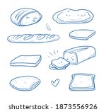 set of diffent sorts of bread ... | Shutterstock .eps vector #1873556926
