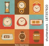 Retro Clock Icon Set