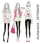 fashion girls  | Shutterstock .eps vector #187358630