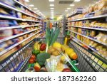shopping cart with foods... | Shutterstock . vector #187362260