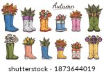 set of colorful gumboots or... | Shutterstock .eps vector #1873644019