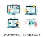 programmer team writing code on ... | Shutterstock .eps vector #1873653676