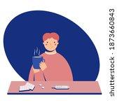 sick man drinks hot drink. flu...   Shutterstock .eps vector #1873660843