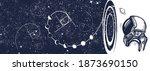 astronaut  night sky and... | Shutterstock .eps vector #1873690150