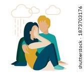 the sad girl is sitting... | Shutterstock .eps vector #1873703176