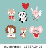 set of cute animals for... | Shutterstock .eps vector #1873710403