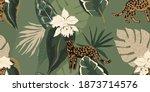 hand drawn abstract jungle... | Shutterstock .eps vector #1873714576
