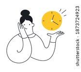 cute cartoon woman holding a...   Shutterstock .eps vector #1873724923