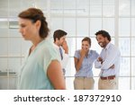 colleagues gossiping with sad... | Shutterstock . vector #187372910