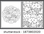coloring pages set with cute... | Shutterstock .eps vector #1873802020