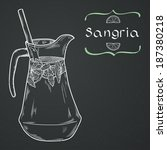 Doodle hand drawn jug of fresh home made sangria on chalkboard background. Vector illustration for restaurant or cafe menu.