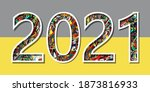 happy new year numbers 2021... | Shutterstock .eps vector #1873816933