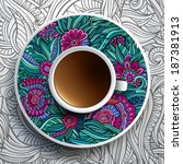 vector illustration with a cup...   Shutterstock .eps vector #187381913