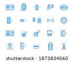 nfc line icon set. near field... | Shutterstock .eps vector #1873834060