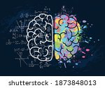 left and right brain with... | Shutterstock .eps vector #1873848013