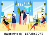 group students paint picture... | Shutterstock .eps vector #1873863076