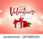realistic white gift box with... | Shutterstock .eps vector #1873884220